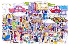Mercado de pulgas animado y colorido en Asia libre illustration
