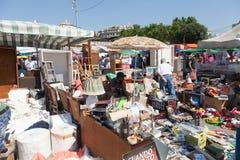 Mercado de pulgas en el cuadrado de Catalanes de las glorias. Barcelona fotos de archivo libres de regalías