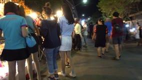 Mercado de rua de passeio de Kad Kong Ta video estoque
