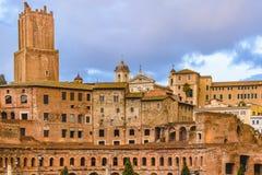 Mercado de Trajan, Roma, Itália fotografia de stock