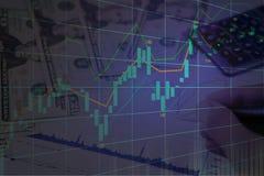 Mercado de valores de ação ou gráfico de troca dos estrangeiros na exposição dobro gráfica imagens de stock royalty free