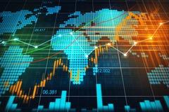 Mercado de valores de ação ou gráfico de troca dos estrangeiros no conceito gráfico imagens de stock royalty free