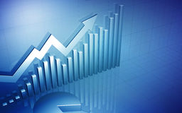 Mercado de valores de ação acima da seta com carta de torta Imagem de Stock Royalty Free