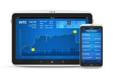 Mercado de valores de acção e operação bancária móvel em dispositivos digitais Fotos de Stock
