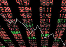 Mercado de valores de acção para baixo Imagem de Stock
