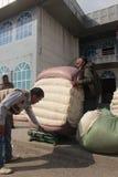 Mercado del algodón en Osh Fotos de archivo libres de regalías