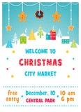 Mercado del día de fiesta de la Navidad o cartel justo con paisaje de la ciudad del invierno Nevado, los árboles y la guirnalda d ilustración del vector