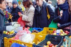 Mercado del local de la fruta de la venta Imagen de archivo libre de regalías
