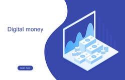 Mercado digital do conceito o dinheiro digital analisa com carta do gráfico Web site do projeto do modelo Ilustração isométrica m ilustração stock