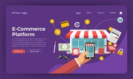 Mercado digital liso do conceito de projeto do Web site do projeto do modelo E ilustração stock