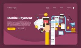 Mercado digital liso do conceito de projeto do Web site do projeto do modelo Mo ilustração do vetor