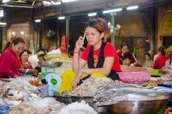 Mercado do alimento de Siem Reap, Camboja 5 de setembro de 2015 Foto de Stock Royalty Free