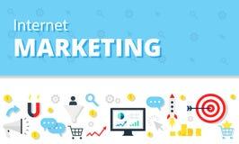 Mercado do Internet, conceito da propaganda no estilo liso Bandeira moderna da Web da imagem da ilustração do infographics do Web Fotos de Stock