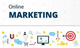 Mercado do Internet, conceito da propaganda no estilo liso Bandeira moderna da Web da imagem da ilustração do infographics do Web Imagens de Stock Royalty Free
