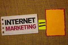 Mercado do Internet da escrita do texto da escrita Conceito que significa o saco em linha de Entrepreneurship Jute do empresário  fotografia de stock