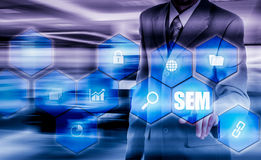 Mercado do motor da SEM-busca Conceito da estratégia empresarial Fotografia de Stock