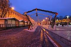 Mercado do Natal do amanhecer Lugar favorito para o resto e entretenimento para locals e turistas fotografia de stock