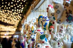Mercado do Natal decoração Decorações coloridas Imagem de Stock Royalty Free