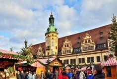 Mercado do Natal do centro histórico de Leipzig Fotografia de Stock