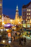 Mercado do Natal em Wroclaw, Polônia imagem de stock