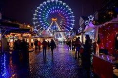 Mercado do Natal na noite em Copenhaga Fotografia de Stock Royalty Free