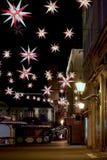 Mercado do Natal no mercado velho em Magdeburgo na noite Imagem de Stock Royalty Free