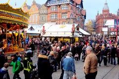 Mercado do Natal, Nottingham, Reino Unido Fotos de Stock Royalty Free