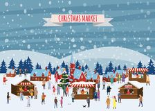 Mercado do Natal ou feira exterior do feriado na praça da cidade Povos que andam entre tendas, o dossel ou quiosque decorados ilustração stock