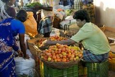 Mercado do vender-vegetal do tomate Imagens de Stock