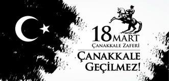 Mercado do zaferi 18 de Canakkale Tradução: Feriado nacional turco do dia do 18 de março de 1915 a vitória de Canakkale dos otoma ilustração stock