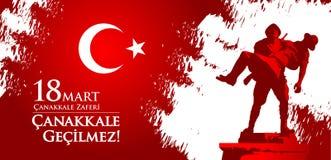 Mercado do zaferi 18 de Canakkale Tradução: Feriado nacional turco do dia do 18 de março de 1915 a vitória de Canakkale dos otoma ilustração royalty free