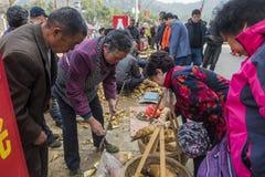 Mercado dos fazendeiros do distrito do kou do shui de Changxing fotos de stock