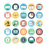 Mercado e iconos coloreados economía 1 del vector imágenes de archivo libres de regalías