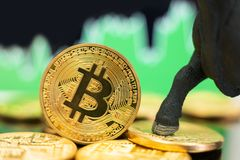 Mercado em alta de Bitcoin fotografia de stock