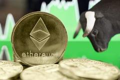 Mercado em alta de Ethereum imagens de stock