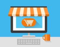 Mercado em linha da loja com portátil Na linha loja Venda, portátil e telefone esperto com toldo ilustração do vetor