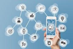 Mercado em linha de Digitas permitido pelo telefone celular e por meios sociais imagens de stock