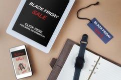 Mercado em linha preto da promoção de venda de sexta-feira fotos de stock