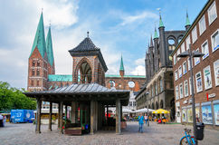 Mercado em Lubeque Schleswig-Holstein, Alemanha Fotos de Stock Royalty Free