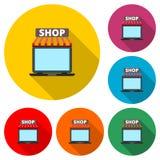 Mercado en línea de la tienda, sistema de color con la sombra larga ilustración del vector