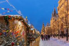 Mercado en la Plaza Roja, Moscú, Rusia de la Navidad Imagen de archivo