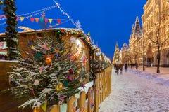 Mercado en la Plaza Roja, Moscú, Rusia de la Navidad Fotografía de archivo