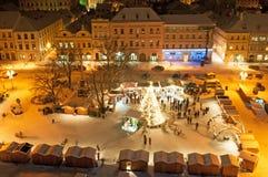 Mercado en Litomerice, República Checa de la Navidad Imagen de archivo