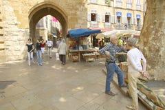 Mercado exterior, em Aix en Provence, França Foto de Stock Royalty Free
