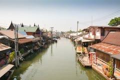 Mercado flotante de Amphawa Imágenes de archivo libres de regalías