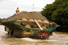 Mercado flotante de Chau doc., Vietnam Fotografía de archivo