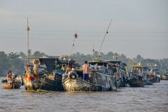 Mercado flotante, delta del Mekong, Can Tho, Vietnam Foto de archivo