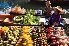 Mercado flotante, Tailandia Foto de archivo