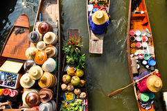 Mercado flotante, Tailandia Imágenes de archivo libres de regalías