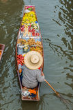 Mercado flotante Tailandia de Amphawa Bangkok del barco de la fruta Imágenes de archivo libres de regalías